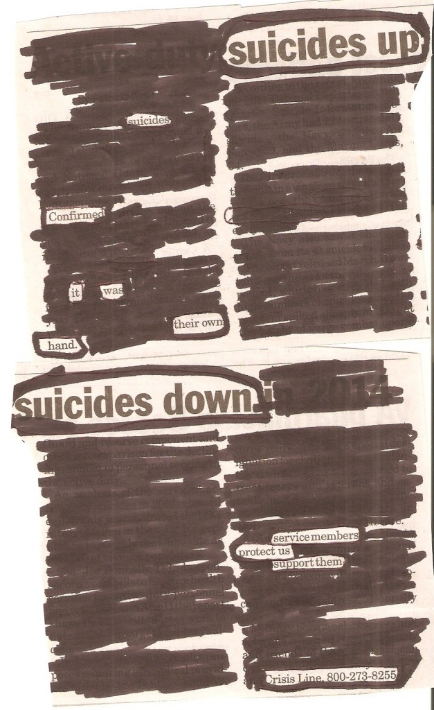 Blackout Poetry veteran suicides
