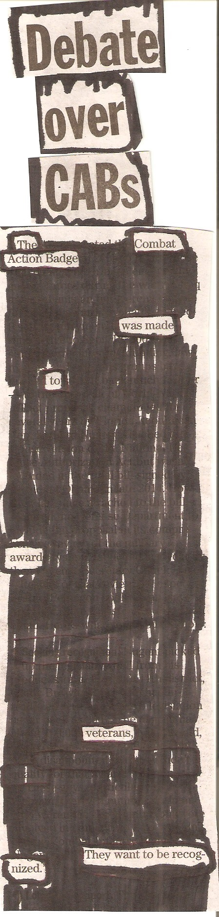 Blackout Poetry: Combat Action Badge