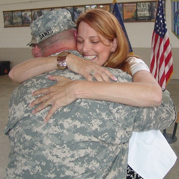 military spouses hugging